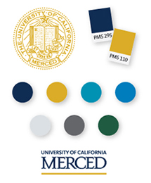 UC Merced - Branding graphics including color samples and logos