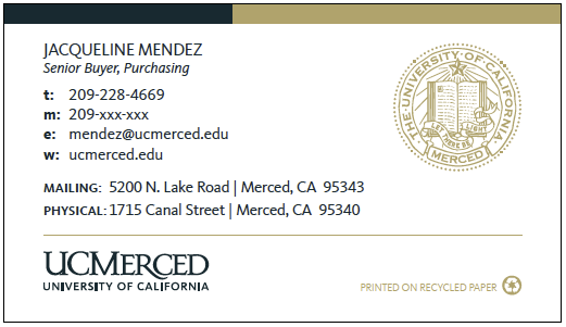 UC Merced business card option 1
