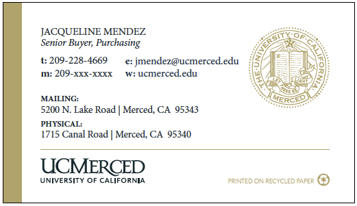 UC Merced business card option 2