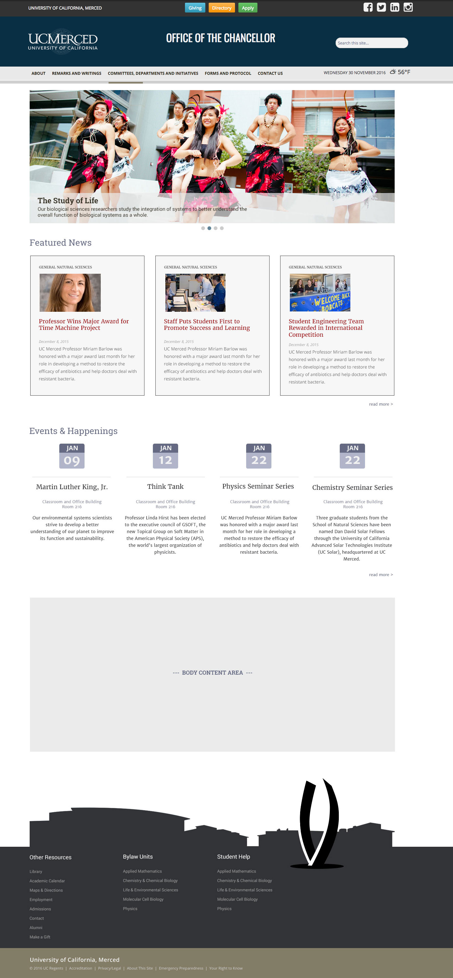 UC Merced responsive template - full slider