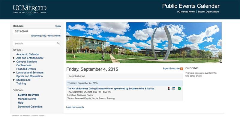 Screen shot of UC Merced's Events Calendar.