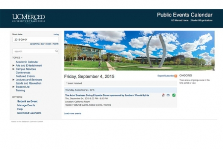 "Screen shot of UC Merced""s Events Calendar."