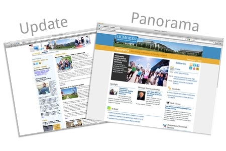 Panorama and Update are UC Merced campus newsletters.