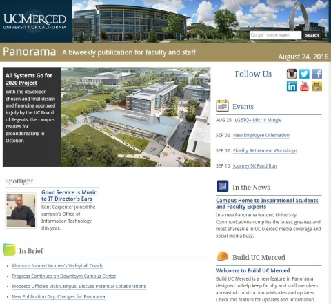 Image of Panorama, UC Merced's e-newsletter for faculty and staff.